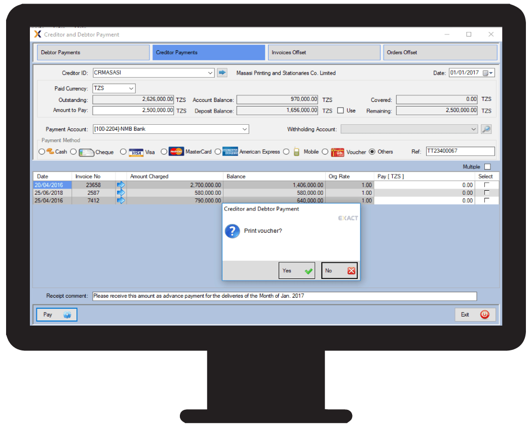 Ledger accounting done by an accounting system software in Tanzania