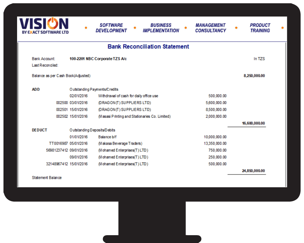 VISION Account Report-Bank Statements