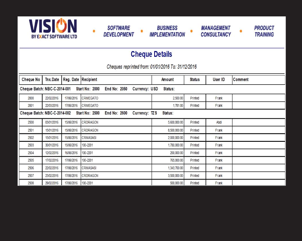 VISION Account Report-Cheque Book Tracker