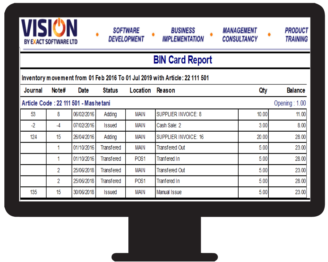 BIN card report. Control item movement using the best inventory control software in Tanzania