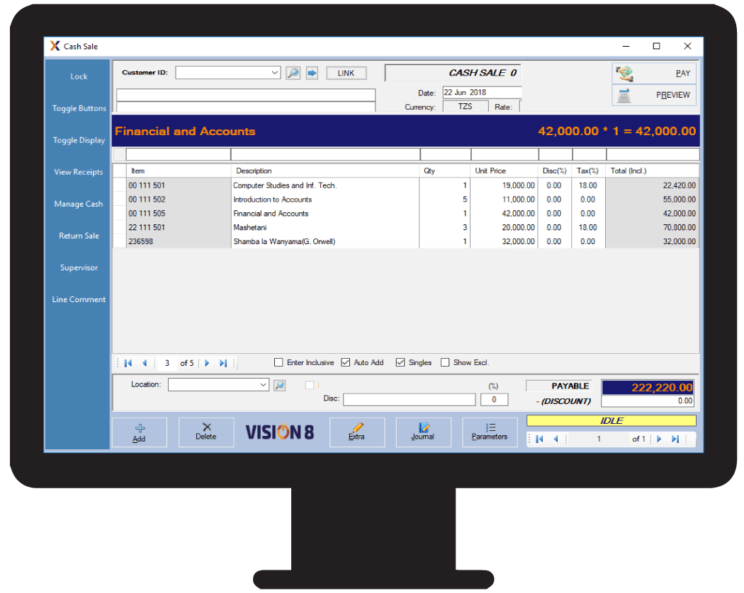 Billing Points feature using the Vision POS software in Tanzania