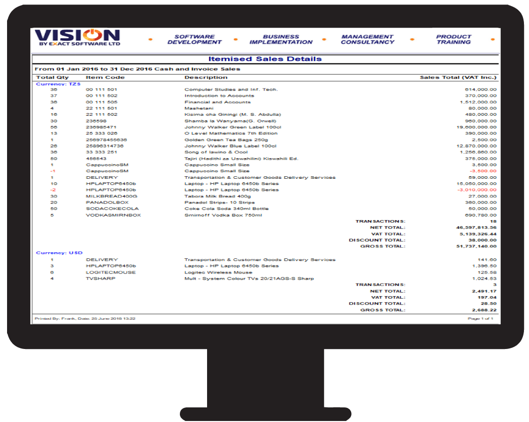 Financial reports using the Vision POS software in Tanzania
