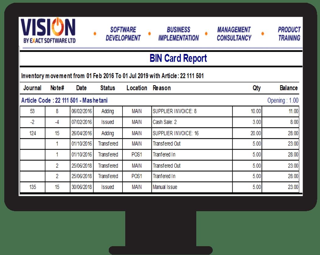 BIN Card Report