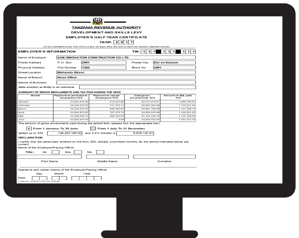 Employee Half Year Certificate